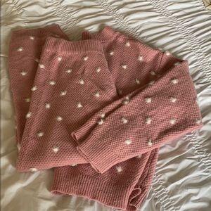 Kittenish pink knit lounge set